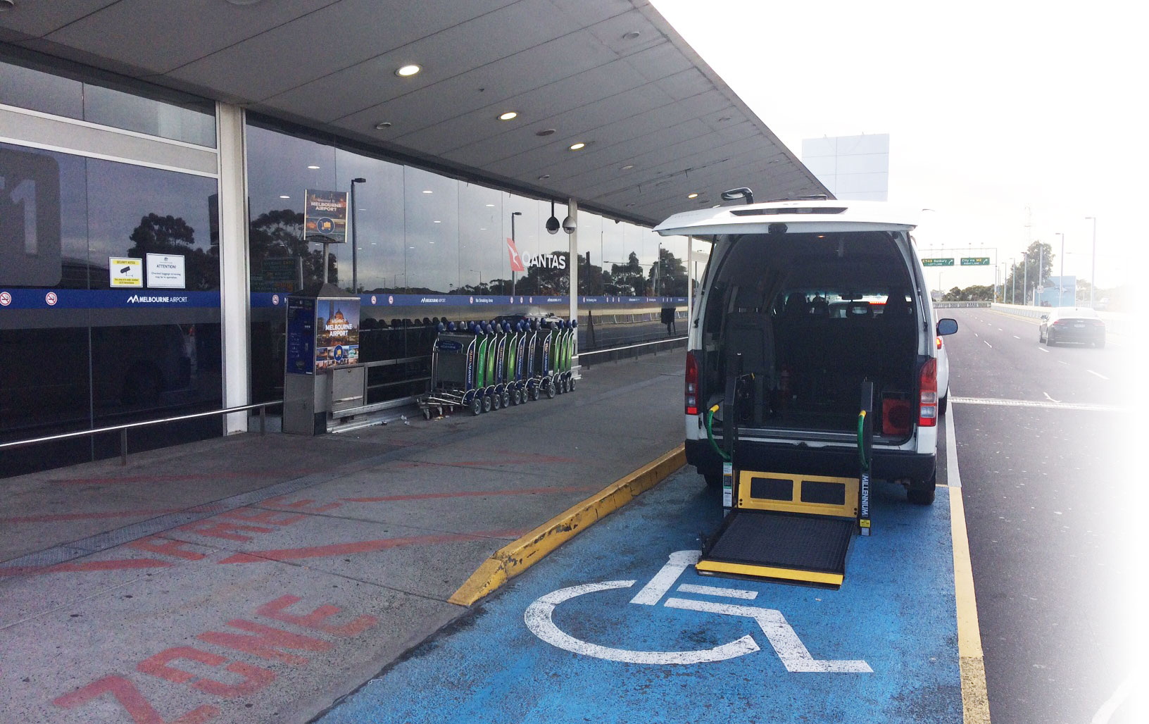 wheelchair access ramps in parking bays